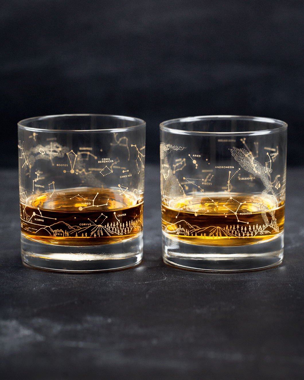 Cognitive Surplus - Night Sky Star Chart Double Old-Fashioned Glasses (Pair)