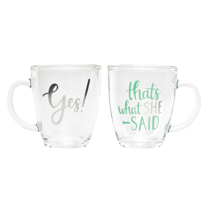 About Face Designs - Yes / She Said Glass Mug Set