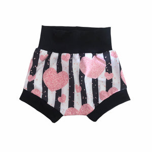 Pink heart with black stripes harem shorts