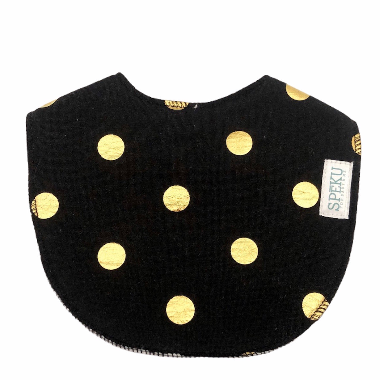 Black and gold polka waterproof bib