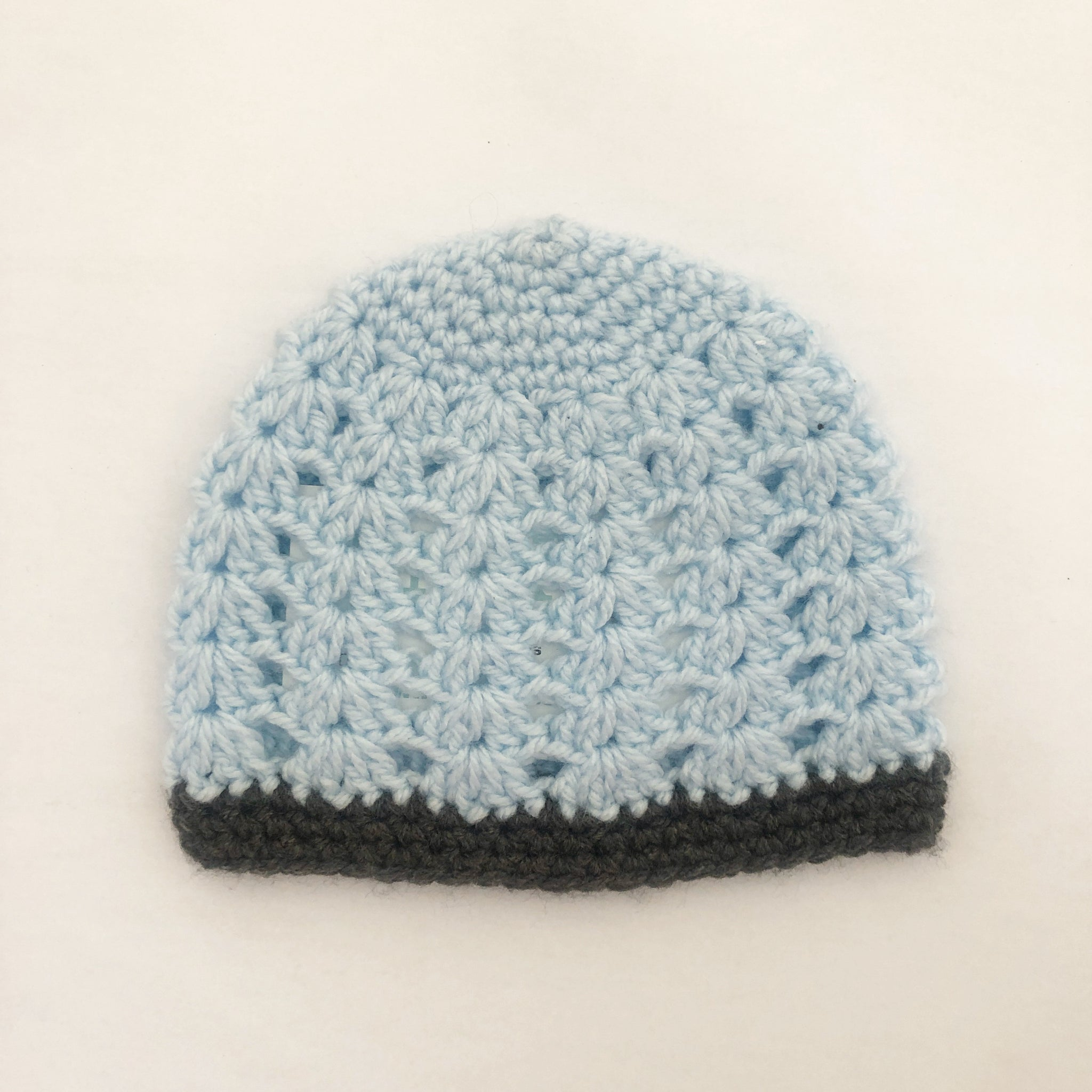 Crochet wool beanie - pastel blue with grey trim