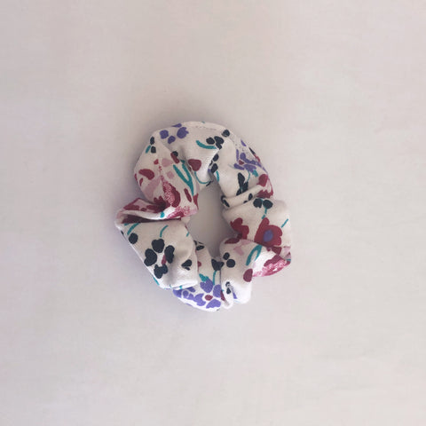 Maroon and blue flower scrunchie small