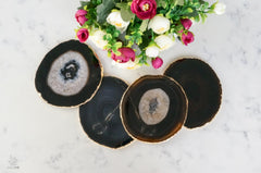 Black Agate Coaster Set