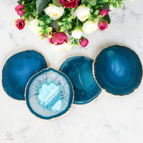 Teal Agate Coaster Set