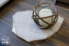 White Quartz Platter with Plated Rim