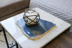 Blue quartz platter with plated rim