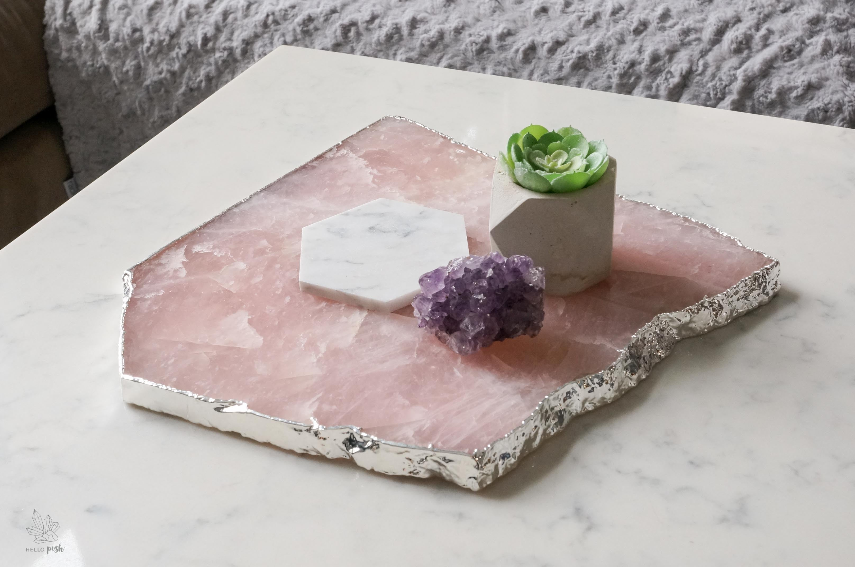 Rose Quartz Platter with Plated Rim