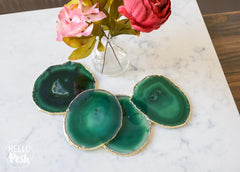 Green Agate Coaster Set. Plated rims
