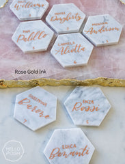 Marble Hexagon Escort Cards