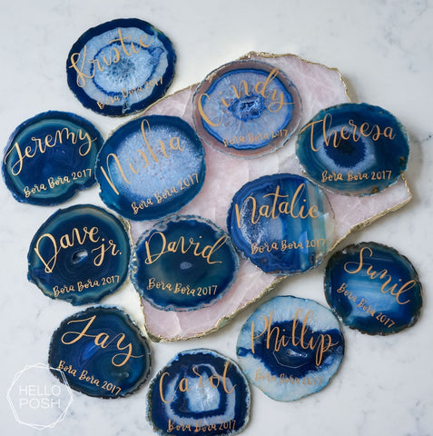 "4"" Agate slice escort cards. Agate place cards."