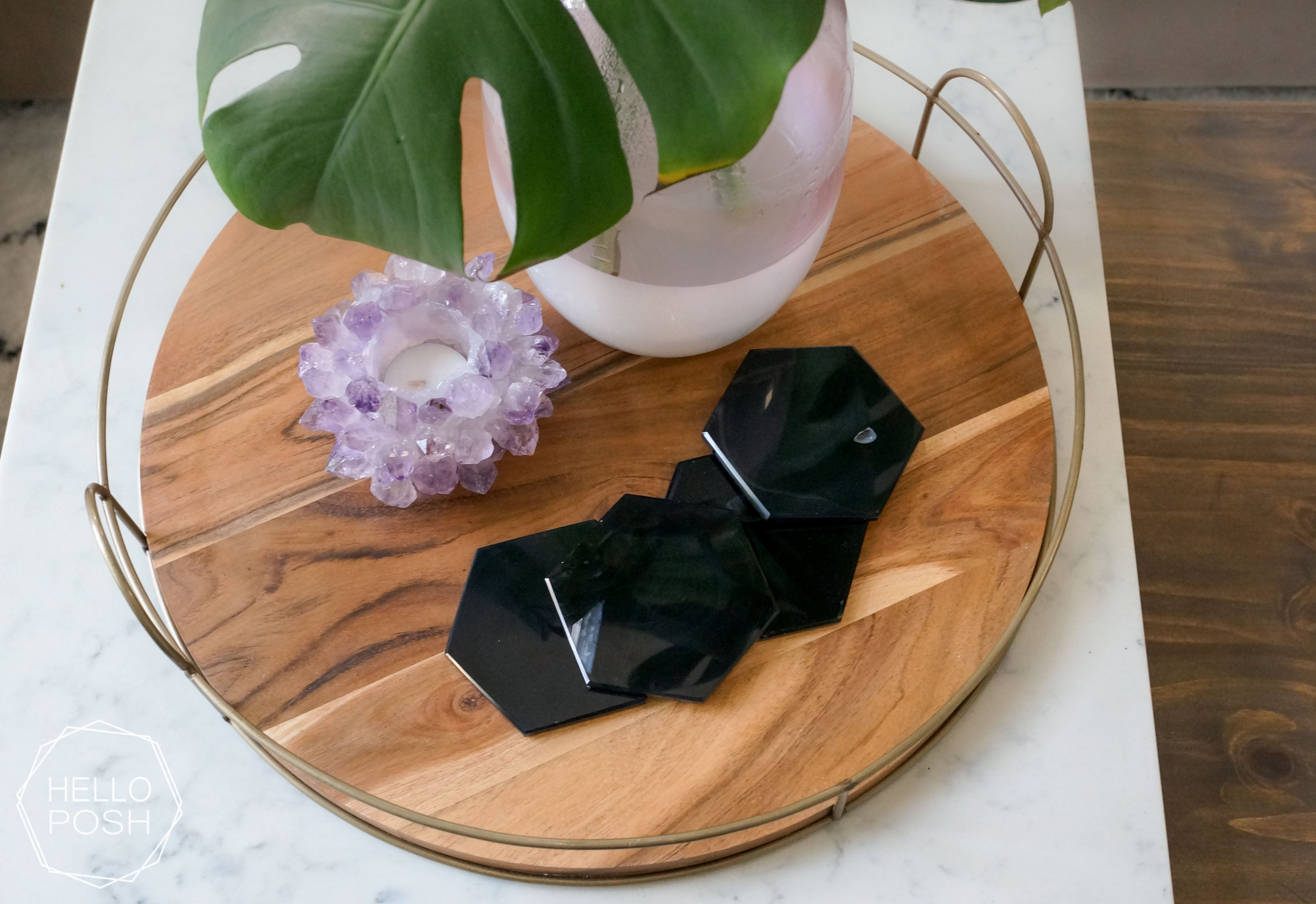 Black Agate Hexagon Coasters