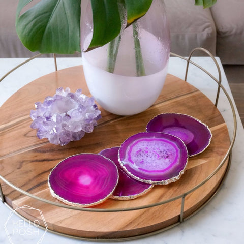 Pink Agate Coaster Set. Plated rims