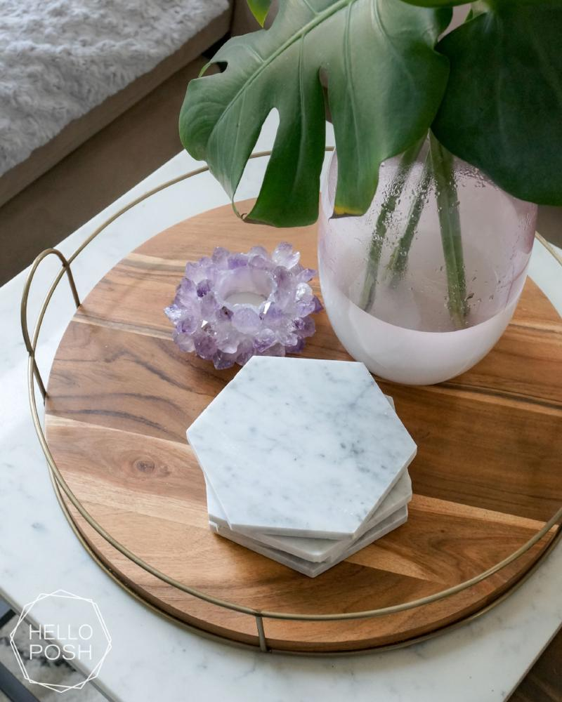 "6"" Marble Hexagon Coaster Set"