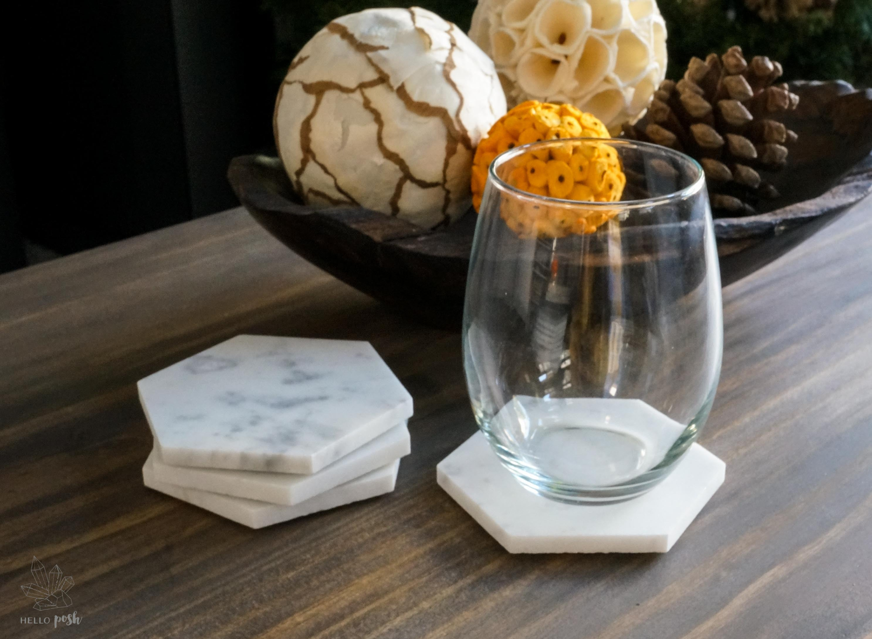 "4"" Marble Hexagon Coaster Set"