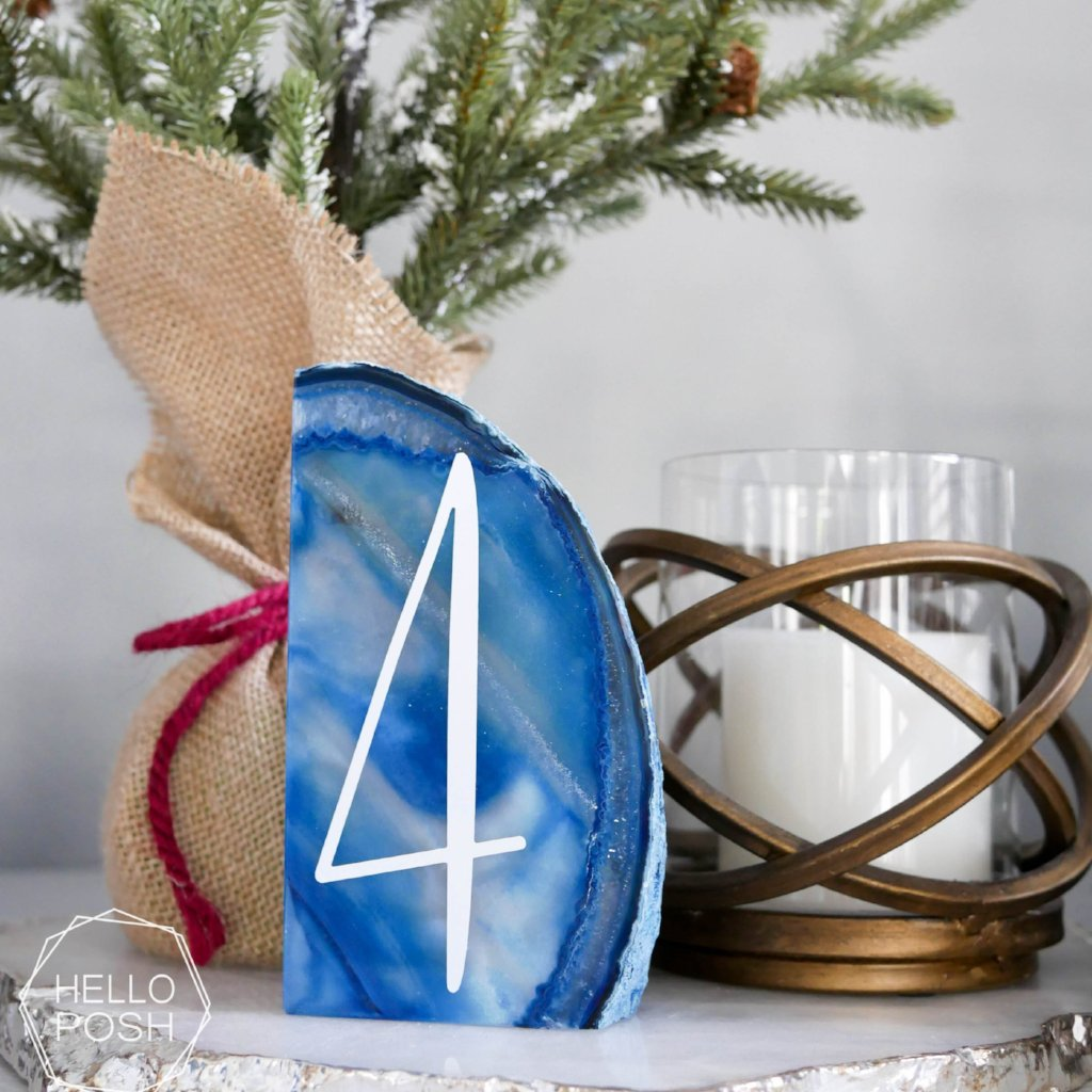 Blue agate geode table number