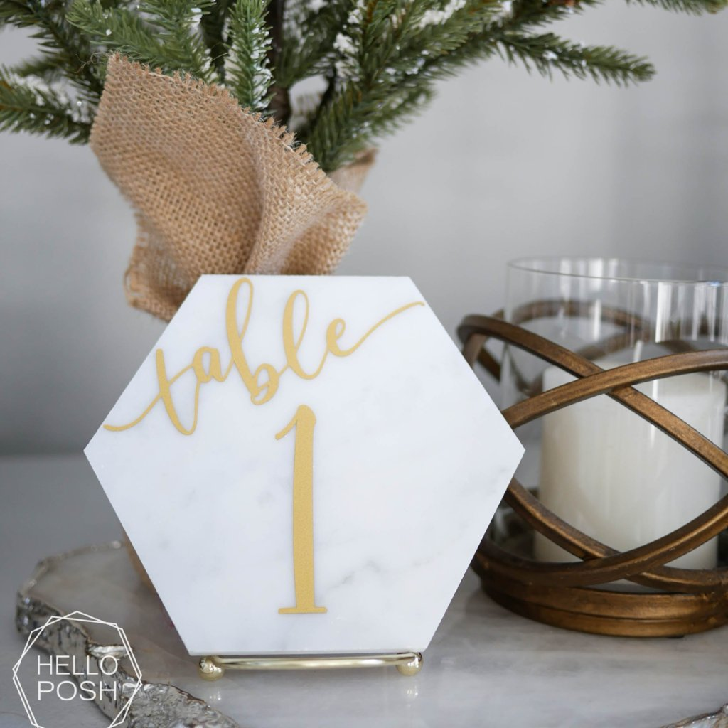 Marble Hexagon Table Numbers