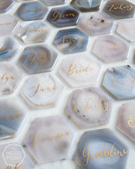 Hexagon agate escort cards