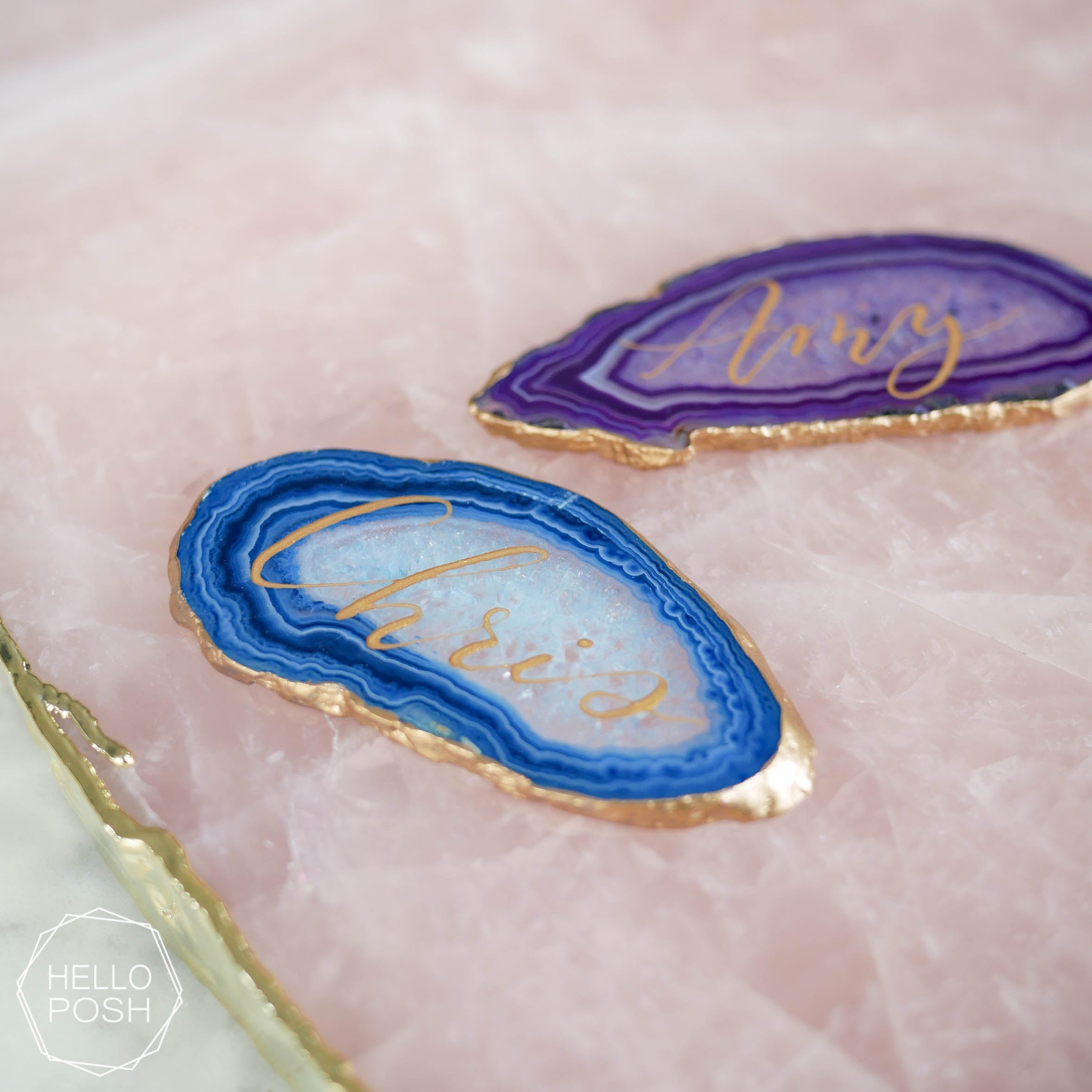 Gold gilded agate escort cards