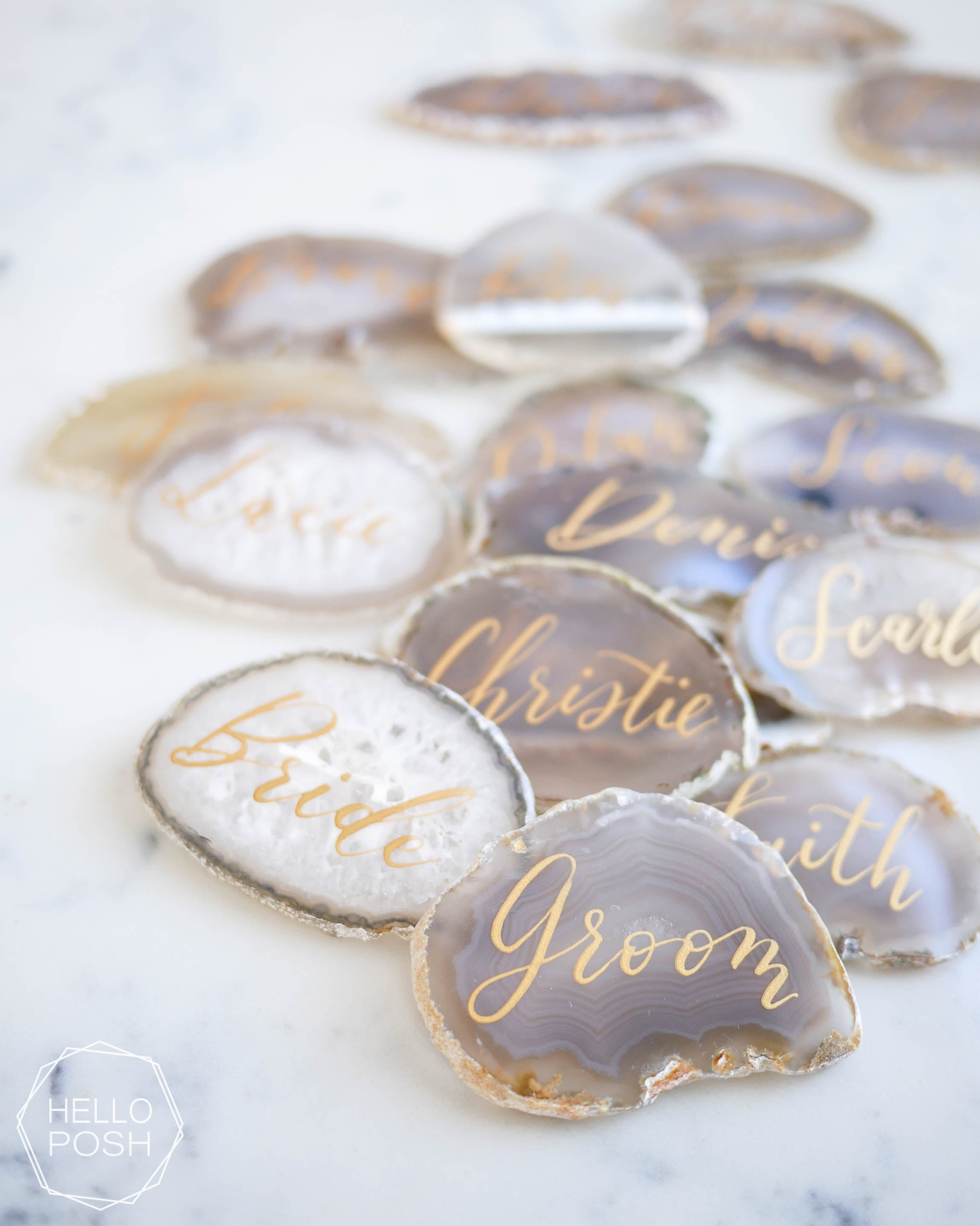 Agate slice escort cards