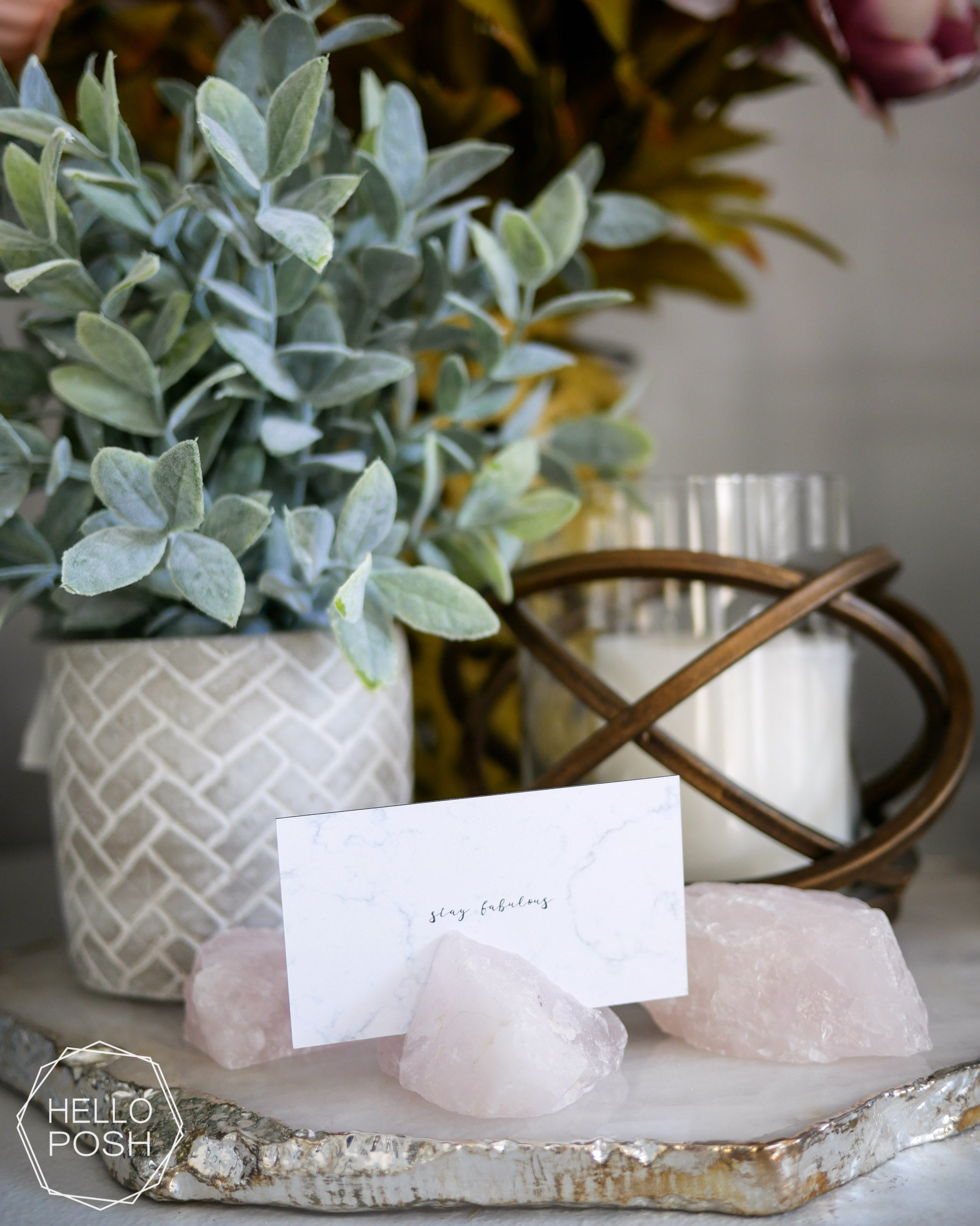 Rose Quartz place card holders