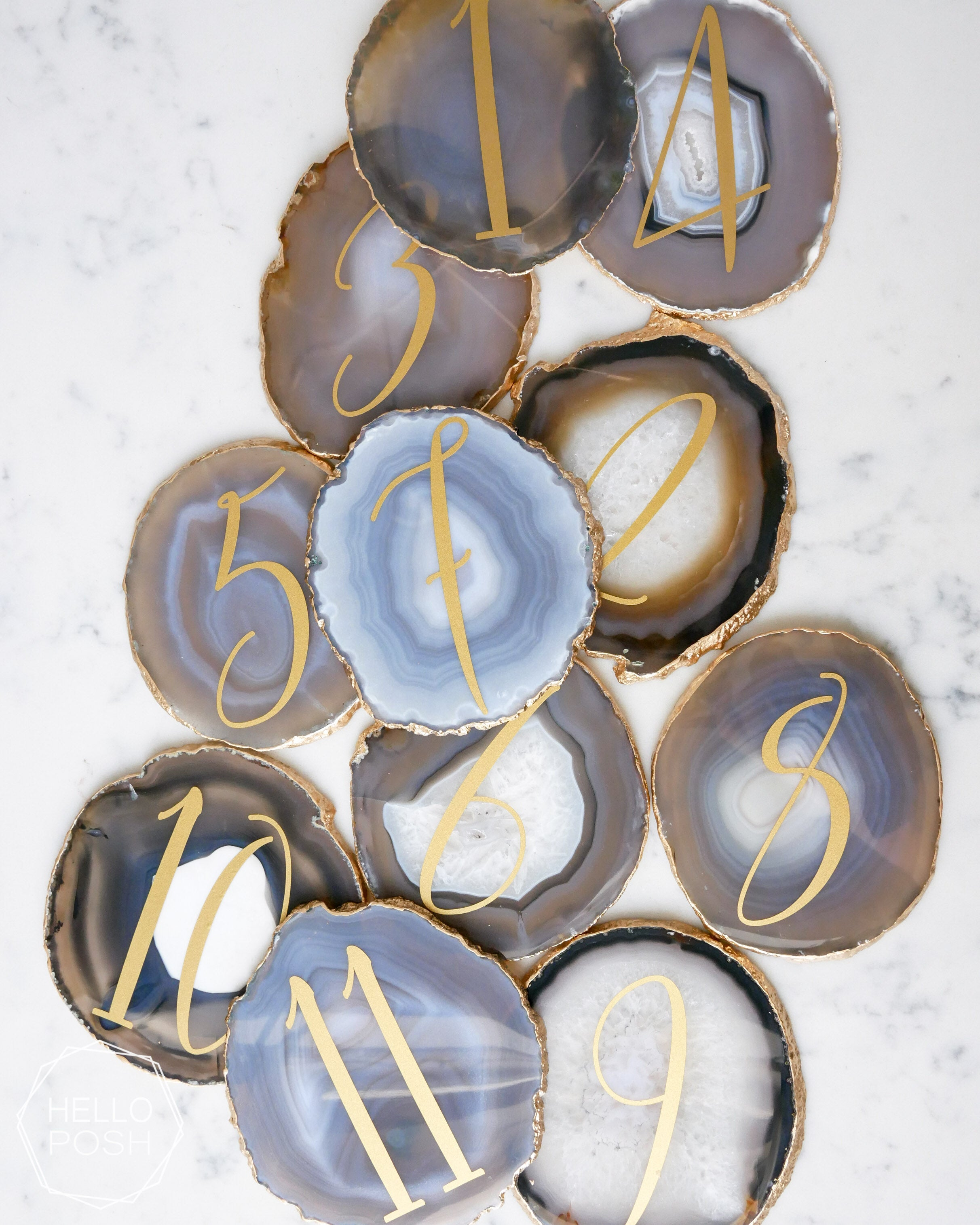 "4"" Agate Slice Table Number"