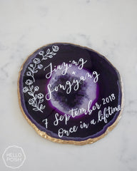 Large Agate Slice Sign with Custom Calligraphy