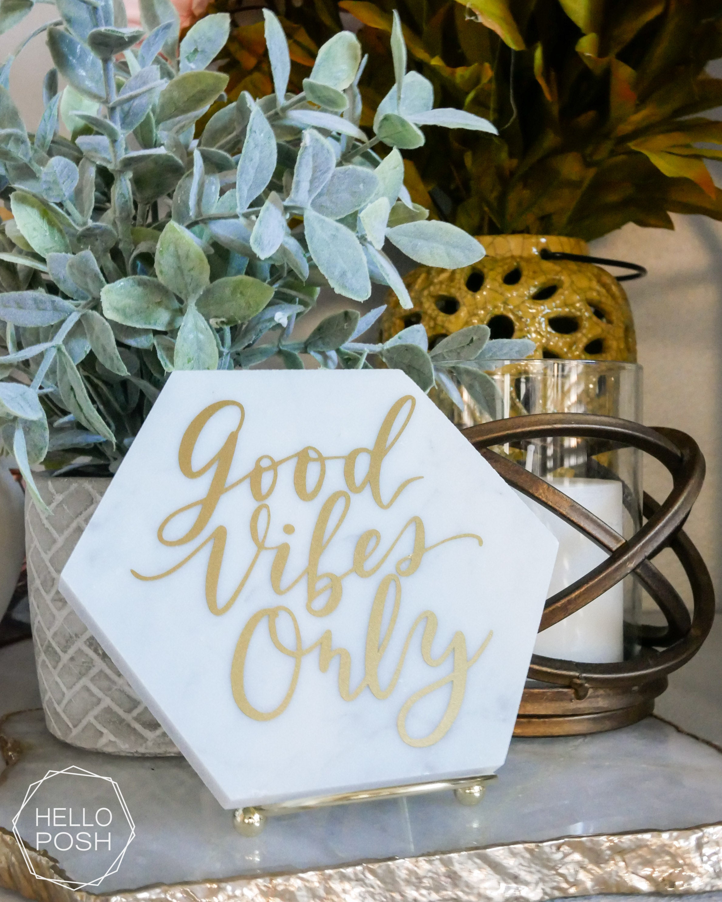 Marble hexagon Sign with Modern Calligraphy