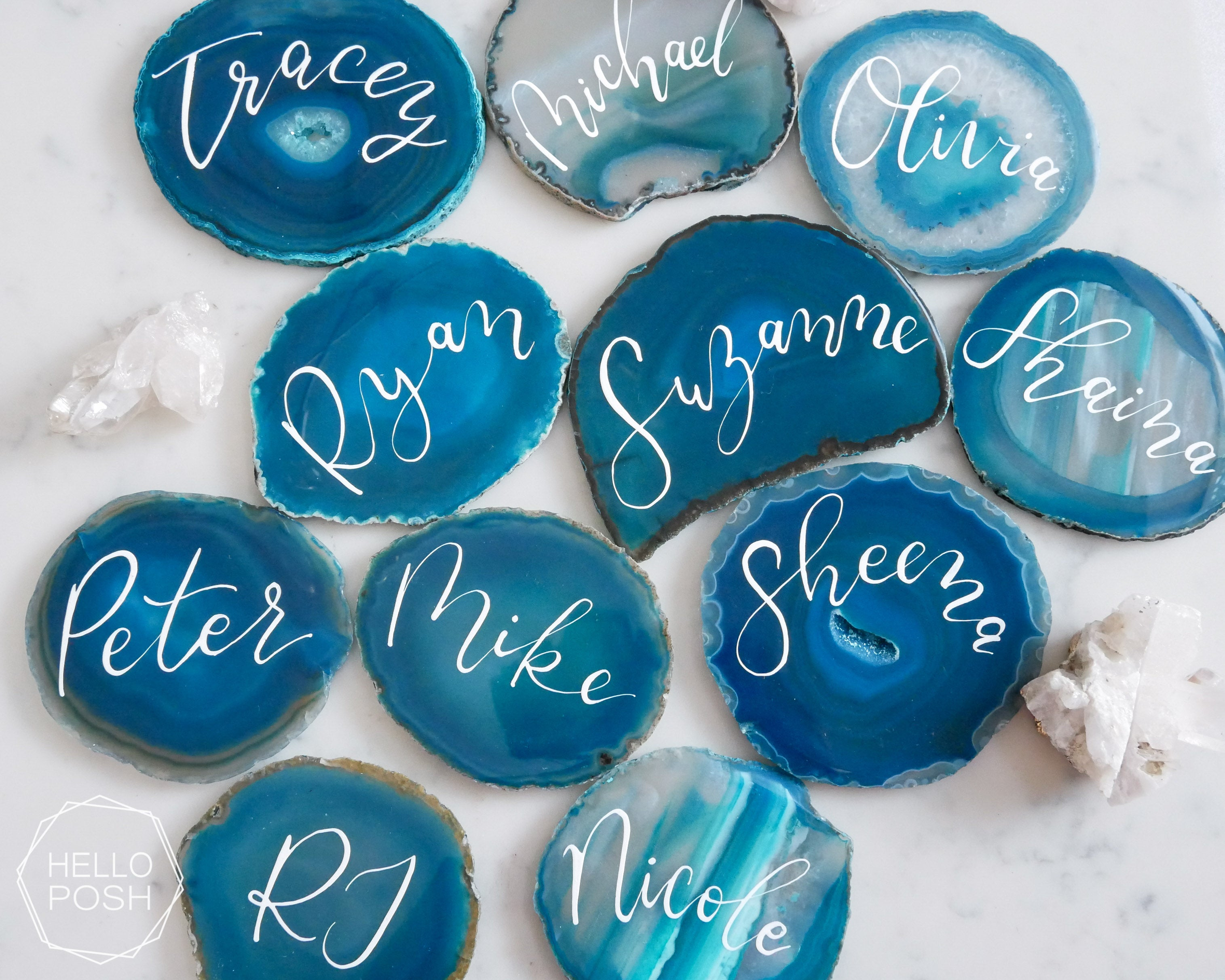 "4"" Agate coaster escort cards"
