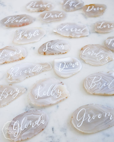 White Agate Escort Cards