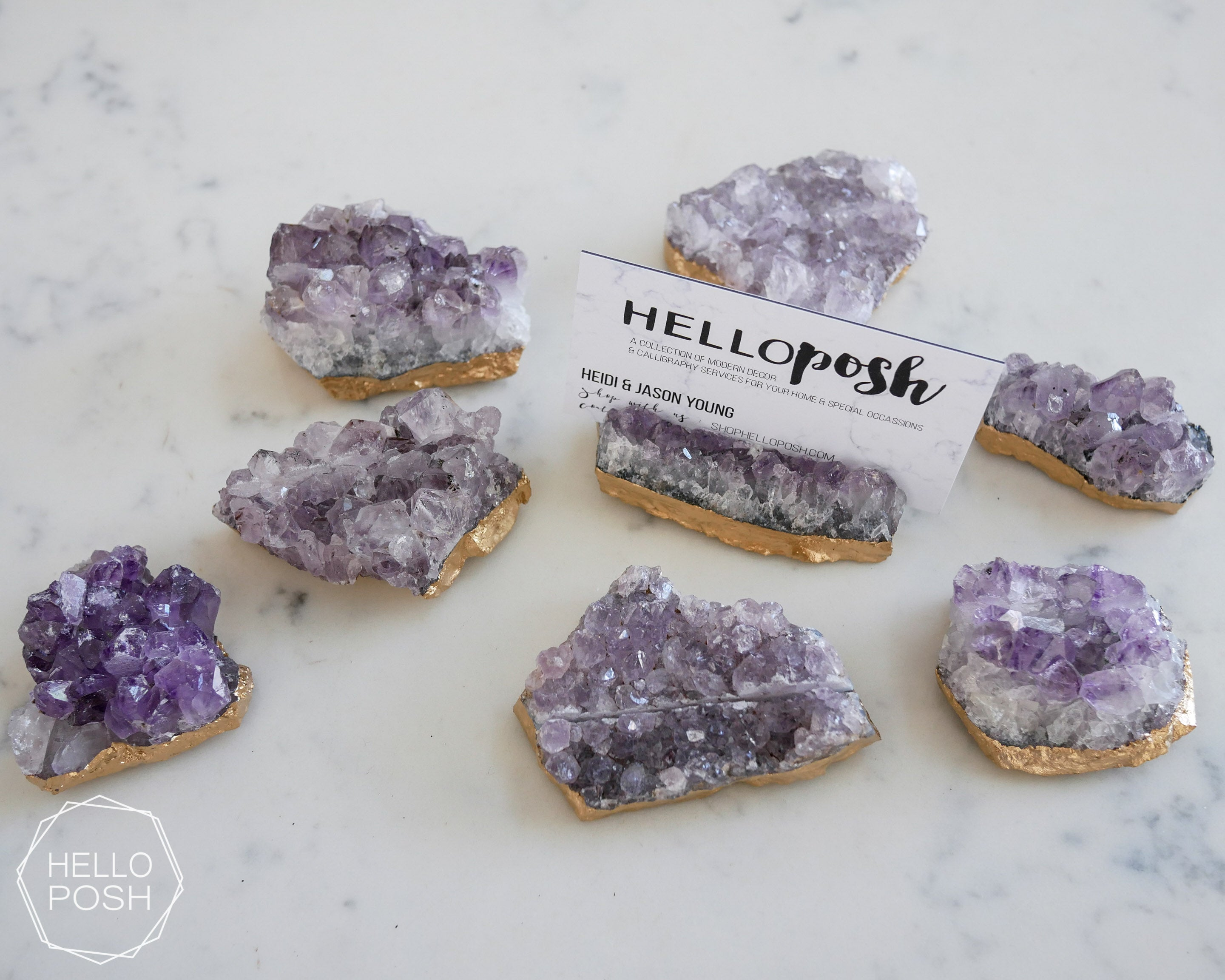 Amethyst place card holders