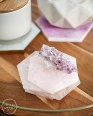Rose Quartz Hexagon Coasters
