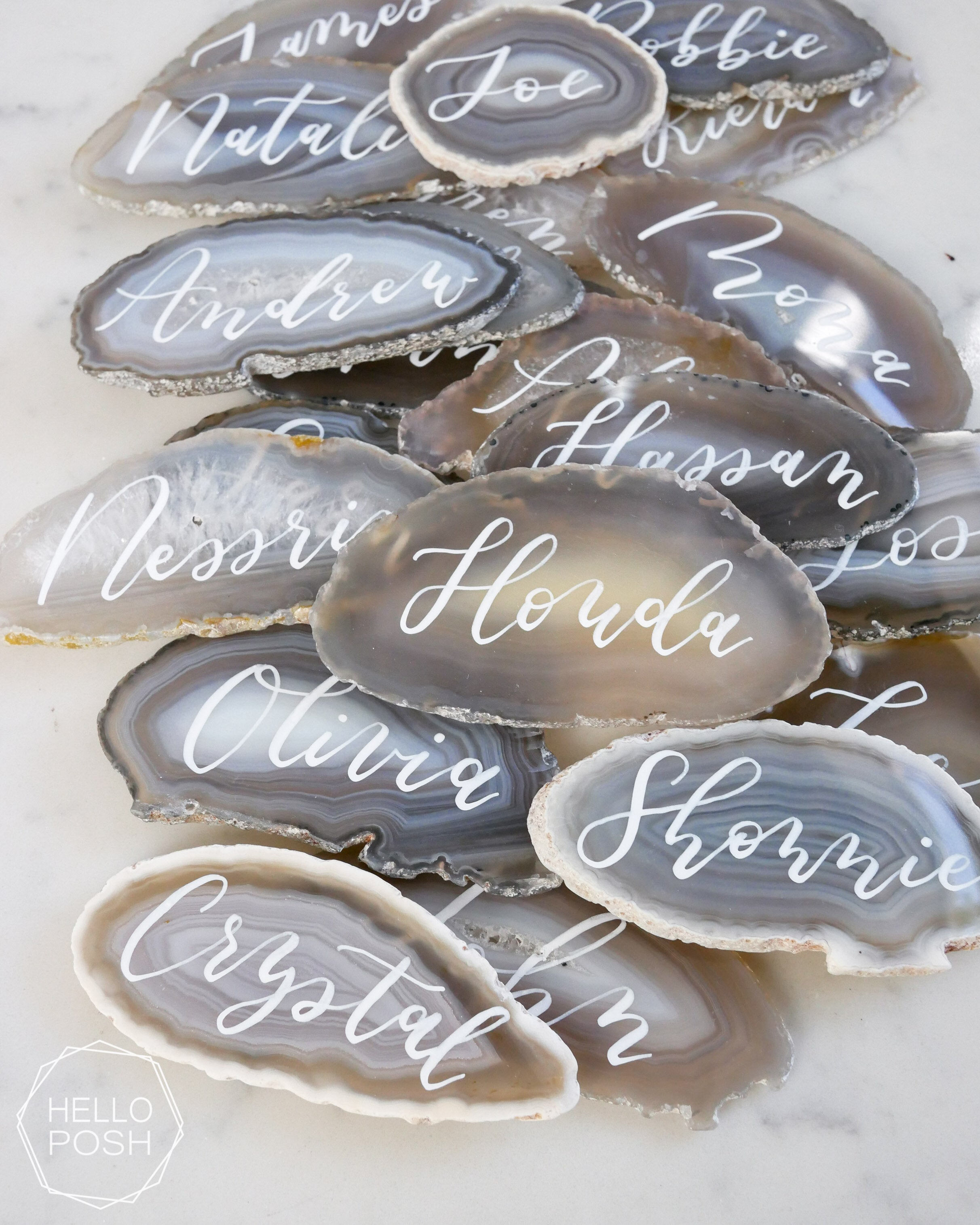 Agate slice place cards