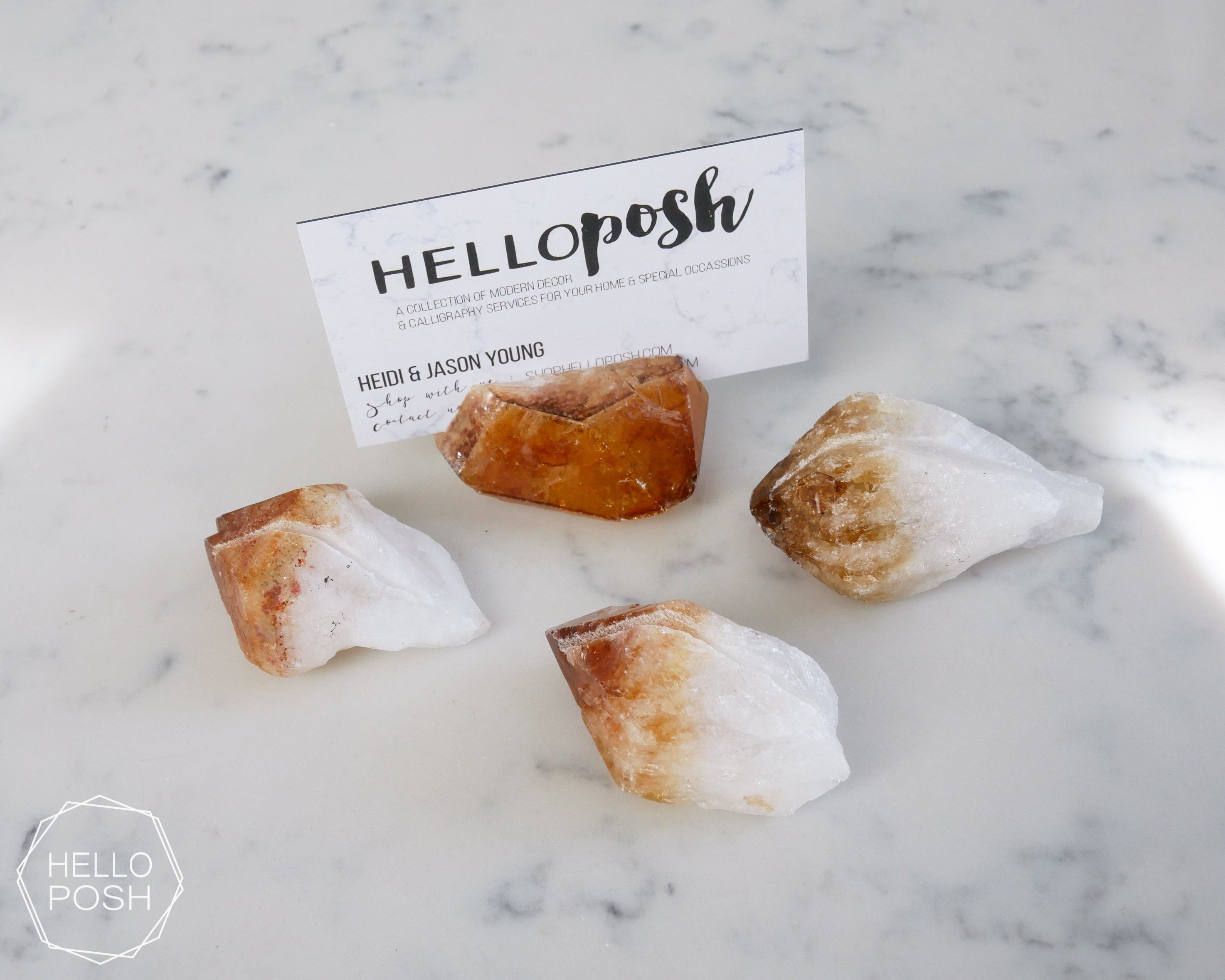 Citrine place card holders