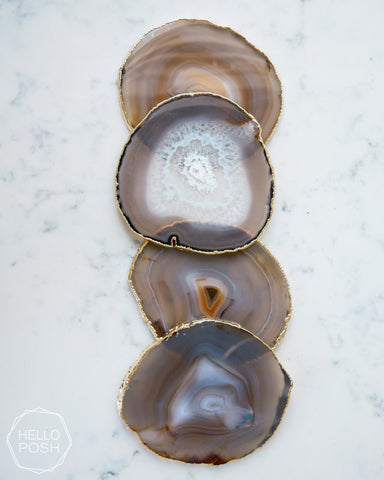 Gray Agate Coaster Set. Plated rims