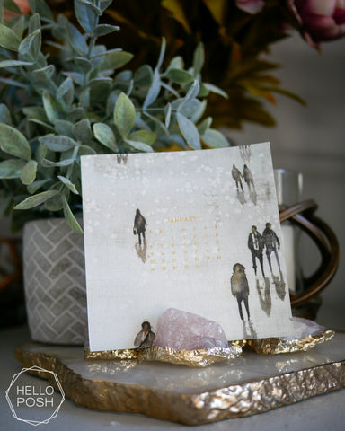 Rose Quartz Gold plated card holders