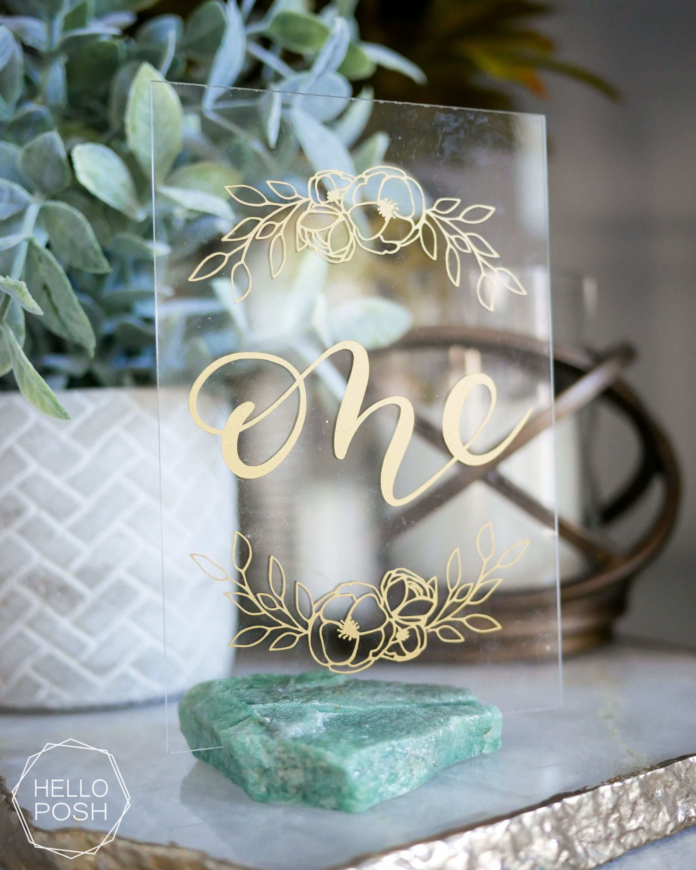 Green quartz place card holders