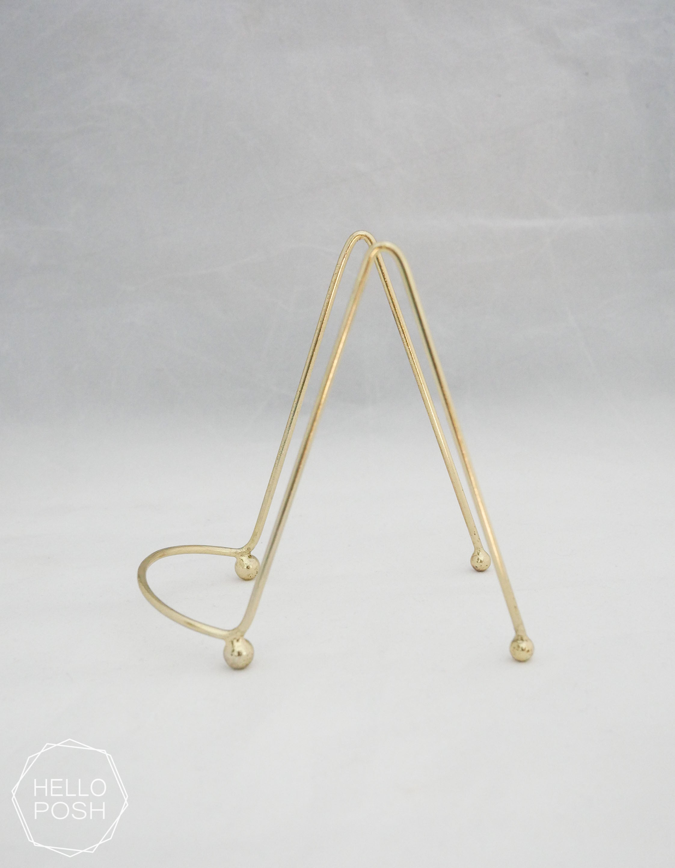 Small gold easels; Brass display stands