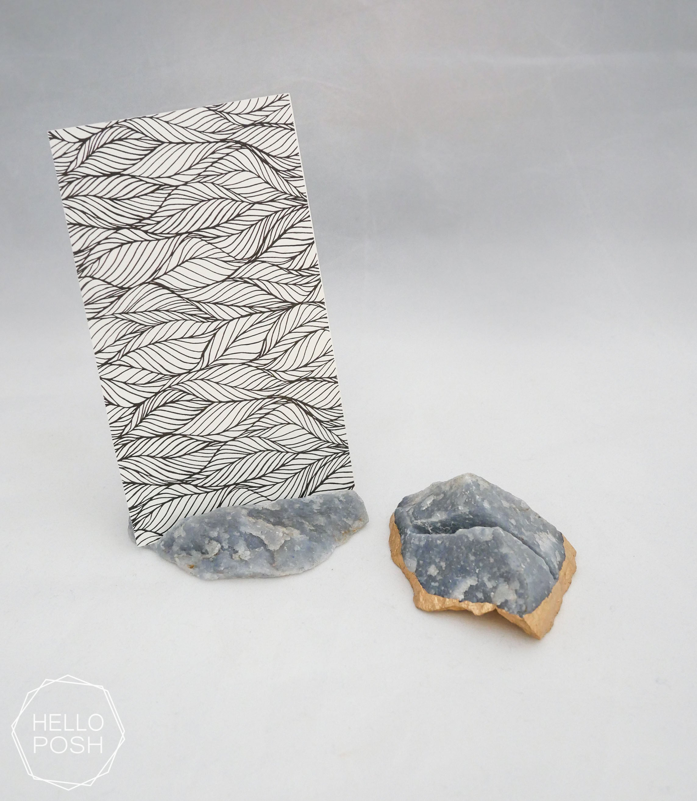 Blue quartz place card holders
