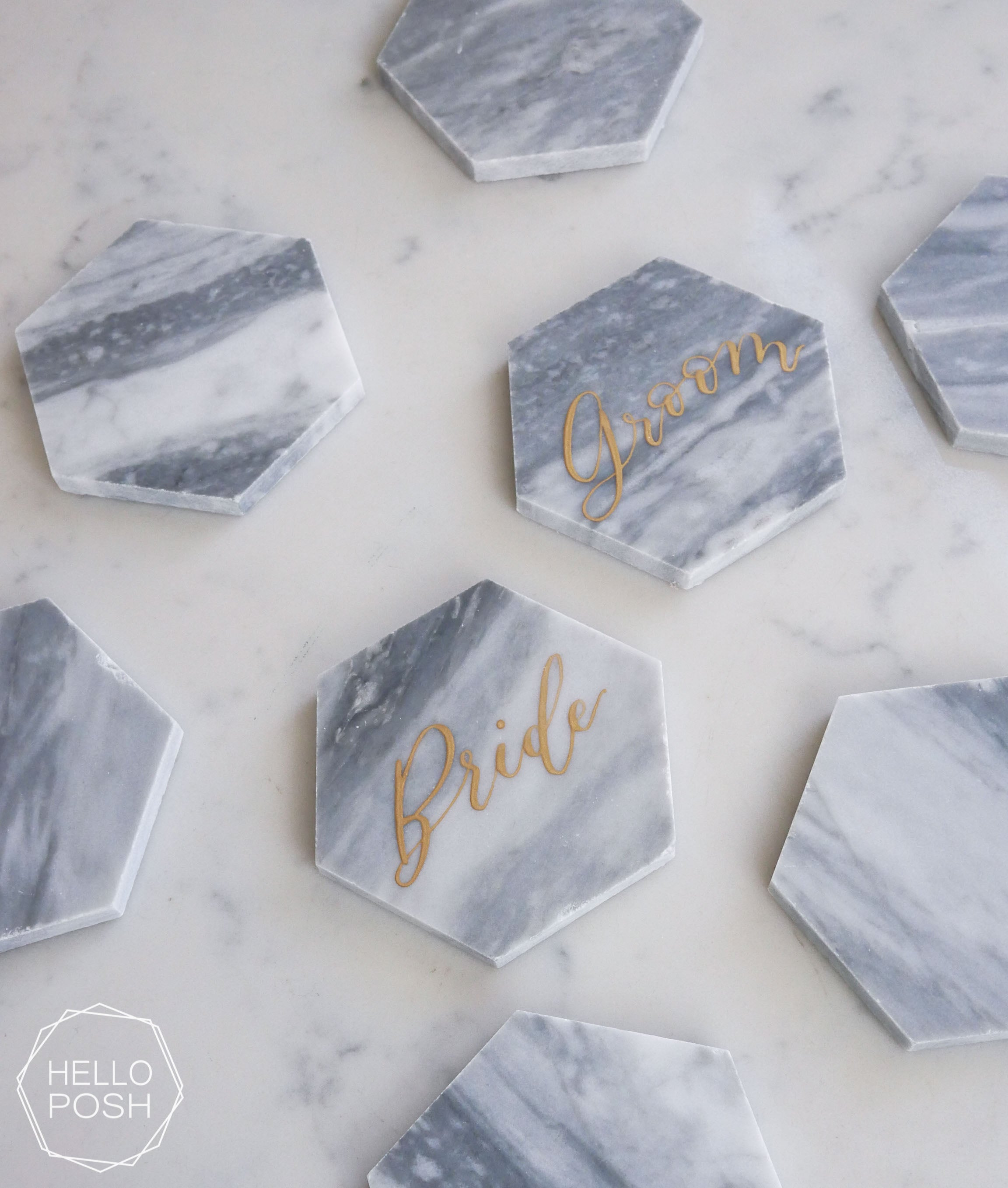 Gray Marble Hexagon Escort Cards