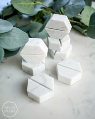 Marble hexagon card holder