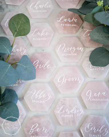 Rose Quartz Hexagon Place Cards