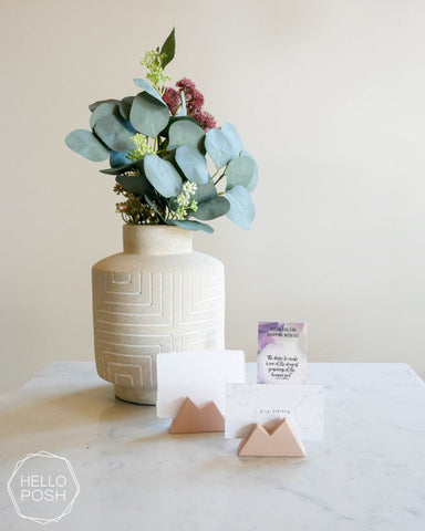 Blush pink mountain card holder