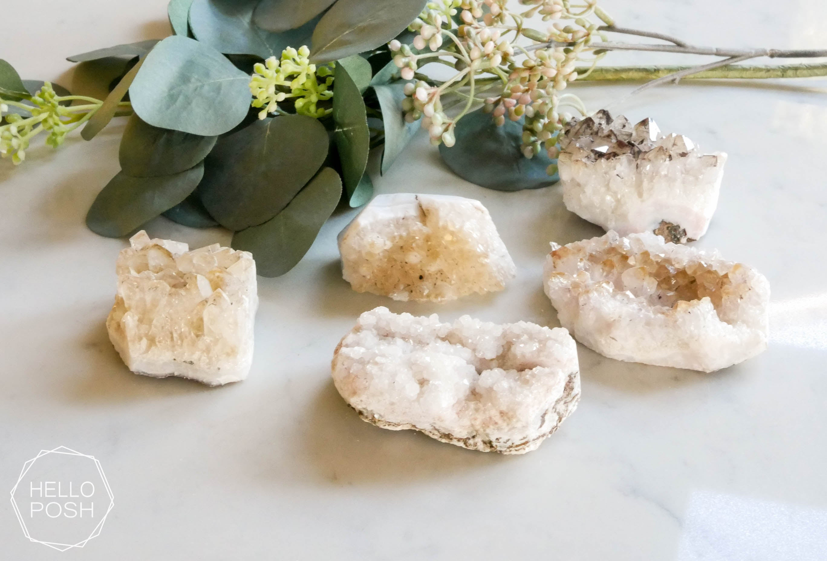 Citrine crystal place card holders