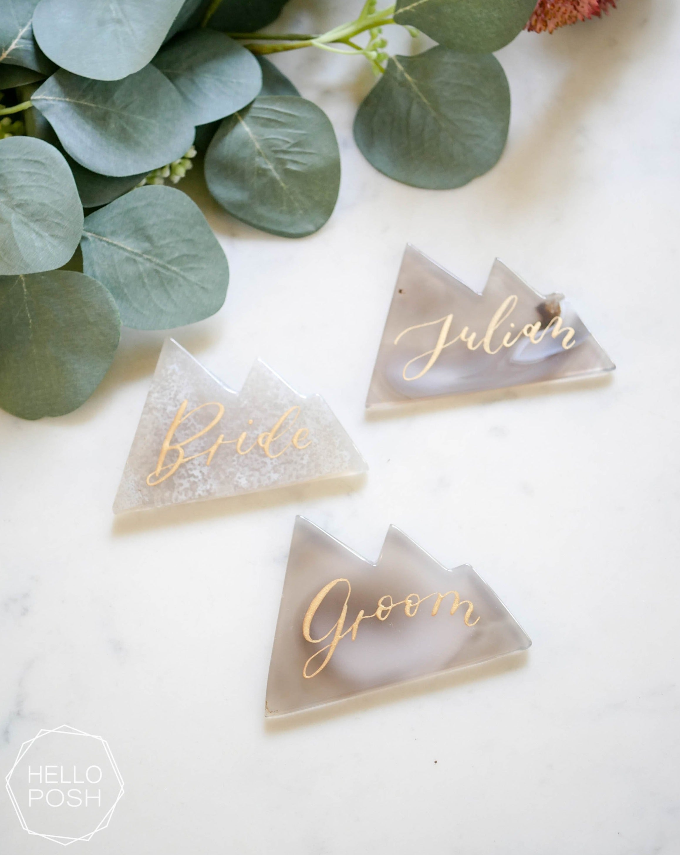 Mountain agate place card
