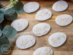 White Quartz Escort Cards