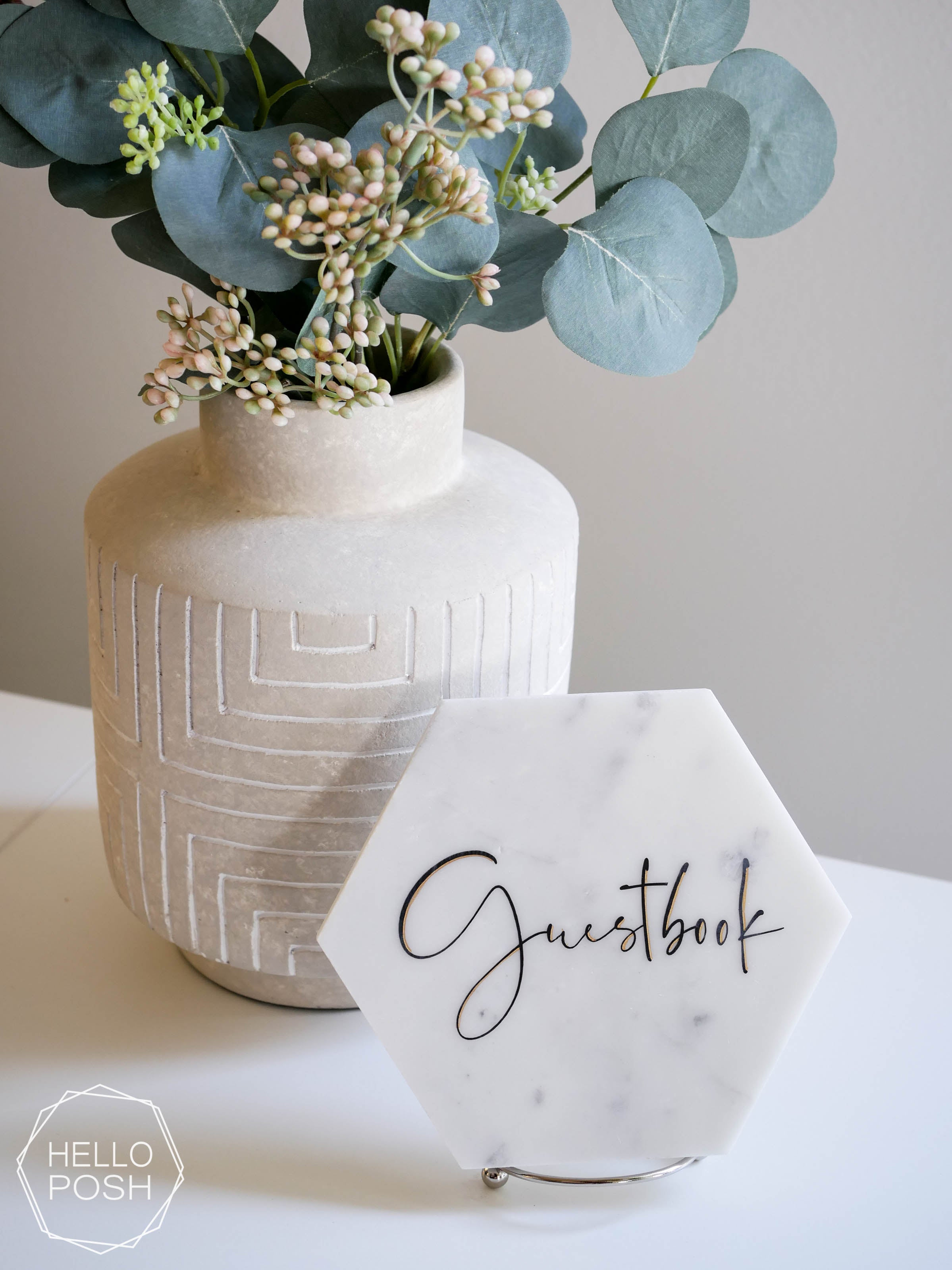 Marble hexagon Sign
