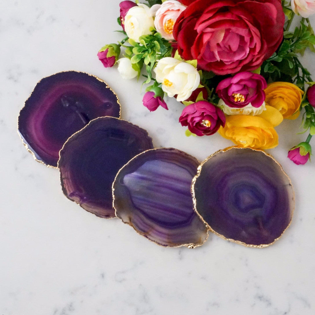 Purple Agate Coaster Set. Plated rim