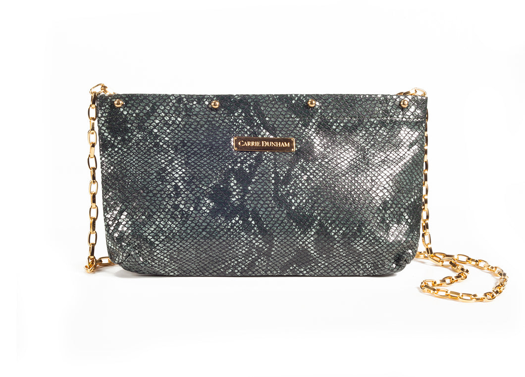 Dark Green Python Leather Clutch Cover
