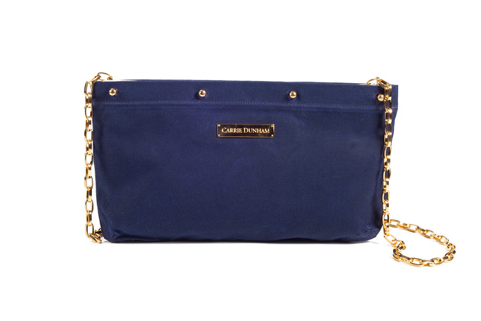 Navy Waxed Cotton Clutch Cover