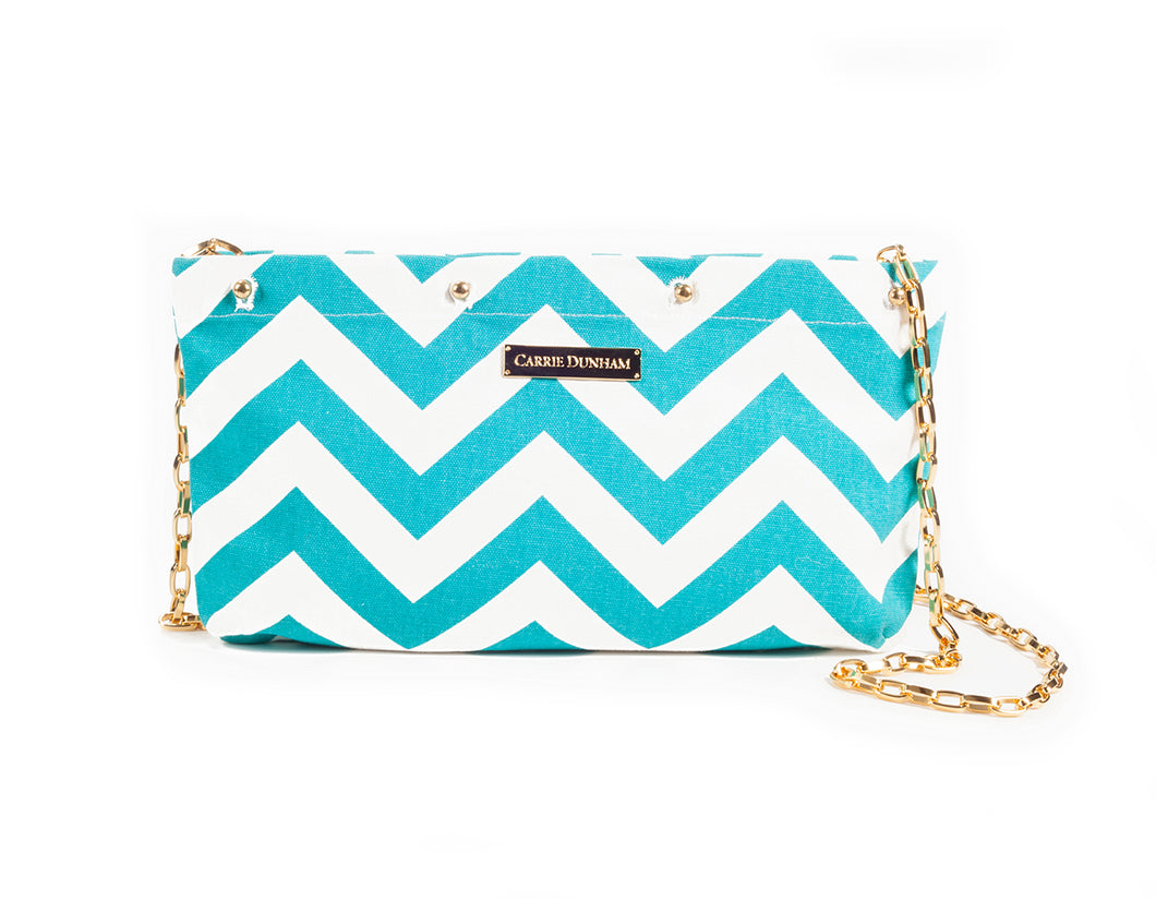 Turquoise & White Chevron Clutch Cover